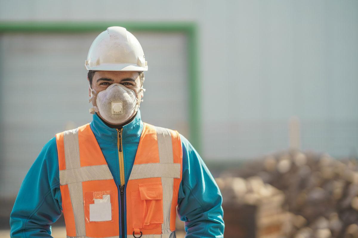 Industrial worker wearing mask